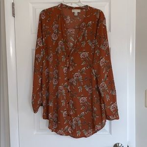 Floral button down tunic